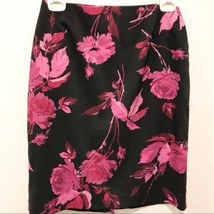 EXPRESS Black Pink Floral Pencil Skirt